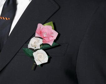 Origami Rose Boutonniere With Pearls