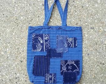 Vintage indigo dye fabric patchwork tote
