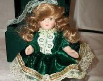 Vintage Miniature Porcelain Doll Blonde Hair Green Velvet Lace Toy Home Decor