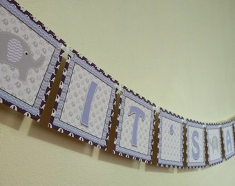 It's A Girl Elephant Banner - Baby Shower Banner - Purple Elephant It's A Girl - It's a Girl Banner - Elephant Banner for Baby Shower