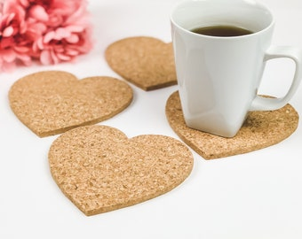 4 Heart Cork Coasters, Drink Coasters, Barware, Bar Decor, Girly Coasters, Gift for Her, Heart Decor, Mother's Day Gift, Bridal Shower