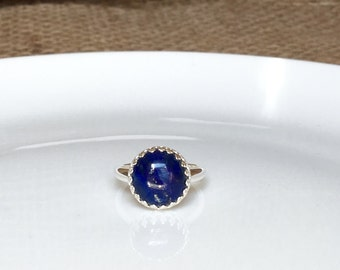 Lapis Lazuli Crown Ring in Sterling Silver