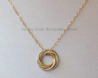 Dainty Entwined Six Rings Necklace Two Tone Love Knot Necklace for 60th Birthday Gift, 6th Anniversary Gift MADE TO ORDER