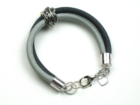 Textile Bracelet in Black and Gray Mokuba Cord with  Sterling Silver Heart or Lotus Flower Charm and Metal Tube Bead