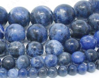 "Dark Blue Sodalite Beads Blue Natural Gemstone Round Loose - 4mm 6mm 8mm 10mm 12mm - 15.5"" Strand"