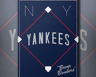 New York Yankees Retro Inspired Baseball Poster Bronx Bombers Slogan