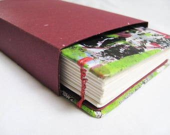 Small Handmade Notebook, coptic book, small journal, multicolor book, painted book, red and green book