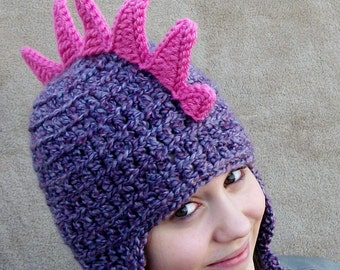 Adult Dragon Hat in Lilac with Bright Pink Spikes - Animal Hat for Women, Costume Beanie for Grown Ups