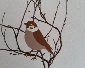 Paper Pendant Sparrow