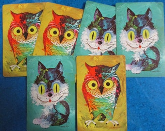 CATS/OWLS CARDS (6) Vintage Playing Cards Collectible Swap Cards Kids Arts & Crafts Projects Scrapbooking Mixed Media Free Shipping