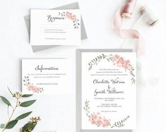 Botanical Wedding Invitation Suite, Wedding Invitation Printable, Invitation Set, Wedding Invitation Rustic, Letter or A4 (Item code: P668)