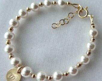 Gold Initial Pearl Baptism Bracelet, Flower Girls Bracelet, Pearl Baptism Bracelet, First Communion, Confirmation, Baby Pearl Bracelet