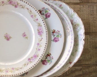 Mismatched Dinner Plates Set of 4 Plates for Wedding Bridesmaid Luncheon Replacement China