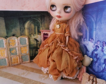 RESERVED -   Do Not Purchase-   OOAK Blythe Dress- Full Length Silk Gown - High Neck Tobacco Shades
