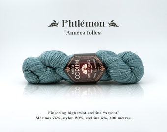 "Philemon - Roaring twenties - nylon stellina ""Silver"" high twist Merino"