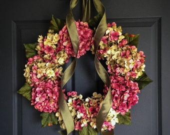 Blended Hydrangea Wreath | Front Door Wreaths | Shabby Chic | Spring Wreath | Pink Wreath | Door Wreath | SPRING Wreaths for Door