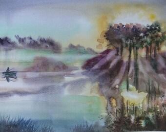 Original Art Painting Watercolor Landscape Home Decor Morning Lake Landscape Watercolor paintings Wall Decor Art Painting Watercolor