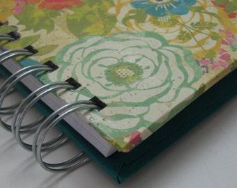 Daily Gratitude - Mini Journal - Gratitude Journal - Pocket Size - Grateful Journal - Thankful Journal - Year Journal - Floral Turquoise