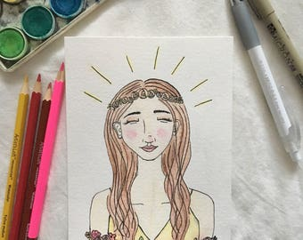 "Illustrated Watercolor Portrait Print - ""Summer"""