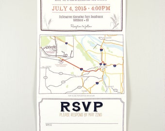 Barley and Hops Trifold Wedding Invitation with Perforated RSVP Postcard with Envelope // Brewery Wedding Invitation