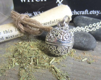 wiccan jewelry peace amulet prayer box necklace locket secret compartment locket necklace pagan wicca witchcraft occult wiccan herbs