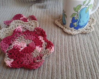 Coasters, Dish Scrubbies, Floral, USA Grown Cotton, 4 Pack, US Shipping Included, Damask & Taupe