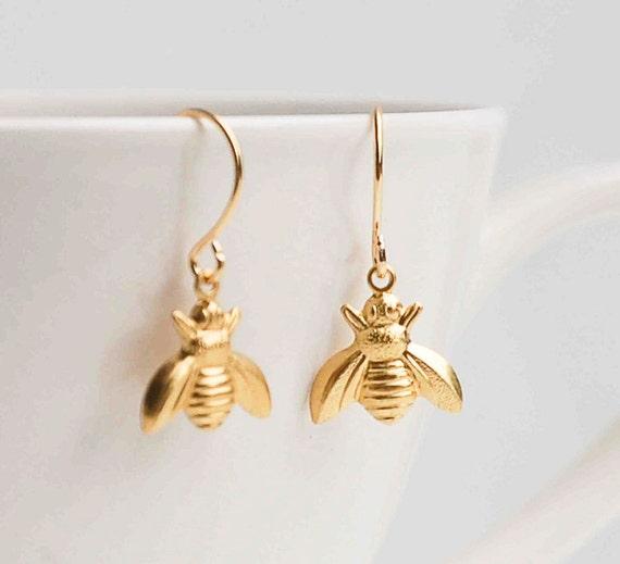 Gold Bee EarringsBumblebee EarringsGold Bee JewelryHoneybee