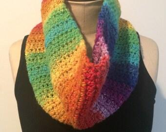 Crochet Rainbow Cowl/Neckwarmer/Infinity Scarf - FREE U.S. SHIPPING