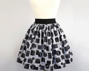 ON SALE!!Black and Gray Retro Cameras Aline Skirt