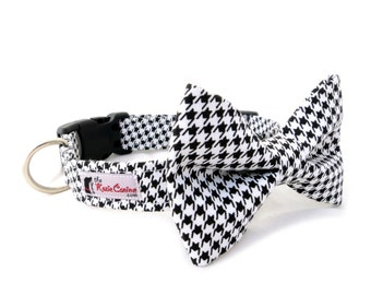 Black and White Houndstooth Dog Collar (Matching Bowtie Available & Sold Separately)