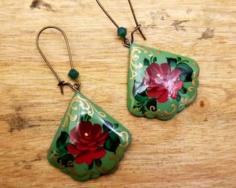Hand Painted Wooden Drop Earrings Mother's Day Gift