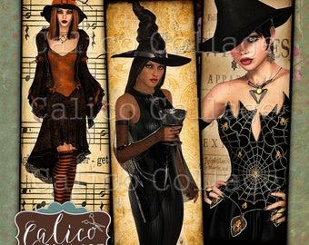 Witchy Damen, 1 x 3-Collage Blatt, digitale, druckbare Bilder, Halloween, Collage Blatt, sofortiger Download, 1 x 3-Zoll-Bilder, Gothic, Hexen