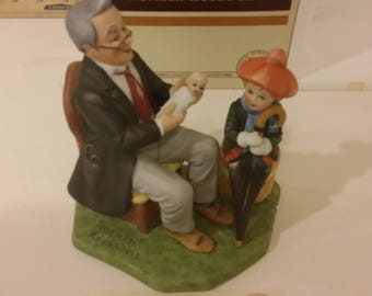 """Vintage Danbury Mint Norman Rockwell """"Doctor and Doll"""" Ceramic Collectible Figurine, 1980's"""