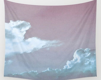 Cloud Wall Tapestry, Cloud Large Size Wall Art, Nature Decor, Wedding Gift, Outdoor, Garden, Cloudy Sky, Office, Dorm Art, Blue Tapestry