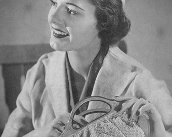 CROCHET PATTERN Vintage 1930s Jockey Hat and Pouch (Handbag/Purse) Instant Download PDF