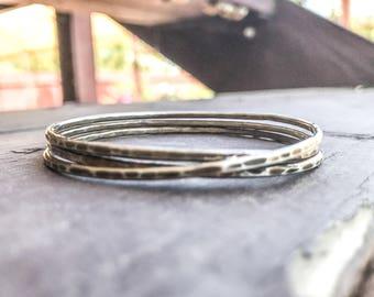 Everyday Silver Bangle. Oxidized Silver Bangle Bracelet. Hammered Silver Bangle. Hammered Silver Bracelet