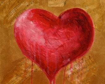 Heart Art, Original Canvas Painting, Wall Art, Ready To Hang, Bleeding Love Heart, Music Sheet Art, Red, Gold, Acrylic on Canvas, OOAK Art