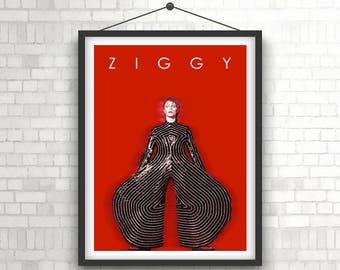 DAVID BOWIE  |  Ziggy Stardust  |  Portrait Art Poster Print
