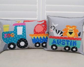 Zoo train appliqué cushion set. PDF pattern