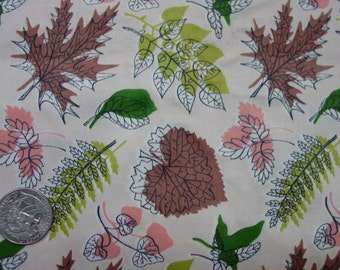 "Vintage Fabric c.1940's Waverly Bonded Glosheen Fabric ""Etched Leaves"" 6 Yards Available 36"" Wide"