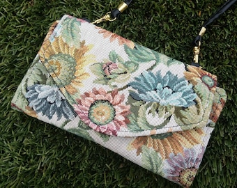 90s floral grandma tapestry mini cross body wallet purse