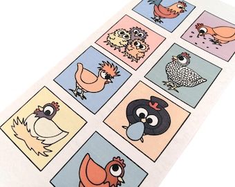 Cute Chicken Card (bright colours) - blank inside - tall card with 8 colourful boxes featuring a variety of hens, chicks and a cockerel