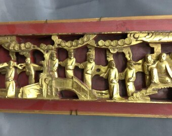 Antique Old Asian Art Wood Carving Chinese Figural Wooden Carved Vintage Priental Gold Gilt Red Paint