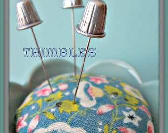 Shiny Silver Thimble Pin Topper