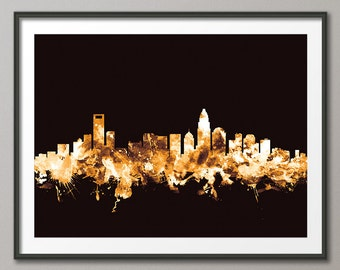 Charlotte Skyline, Charlotte North Carolina Cityscape Art Print (2314)