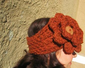 Ear Warmer/Headband, Chunky Rib With Maxi Flower And Coconut Button--Rust, Brown, Crochet