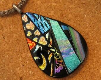 Glass Pendant - Dichroic Pendant - Dichroic Jewelry - Fused Glass Pendant - Picasso Pendant - Dichroic Necklace - Glass Pendant