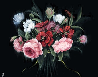 Rose and Poppy Bouquet Painting, Fine Art Print