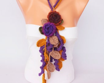 Crochet  necklace scarf , crochet lariat scarf ,crochet jewelry  scarf,gift