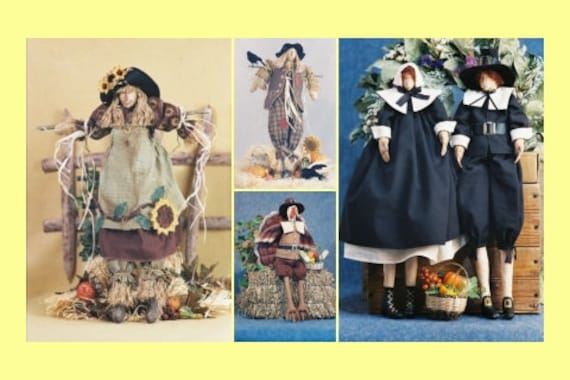 Cloth Doll E-Pattern Special Autumn Fall Thanksgiving ePattern Collection Girl and Boy Scarecrow, Turkey and Pilgrims